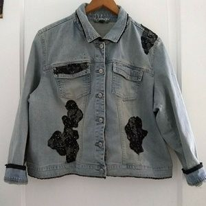 Deluxe by LA Blues Lace Bling Jean Jacket